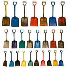 Antique Child's Toy Metal Beach Sand Shovel Display, 25 Shovels Custom Frame