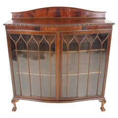 Antique China Cabinet, Edwardian Serpentine Curio Cabinet, Scotland 1920, B1814