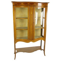 Antique China Cabinet, Walnut, Bow Front Cabinet, Curio Cabinet, 1910
