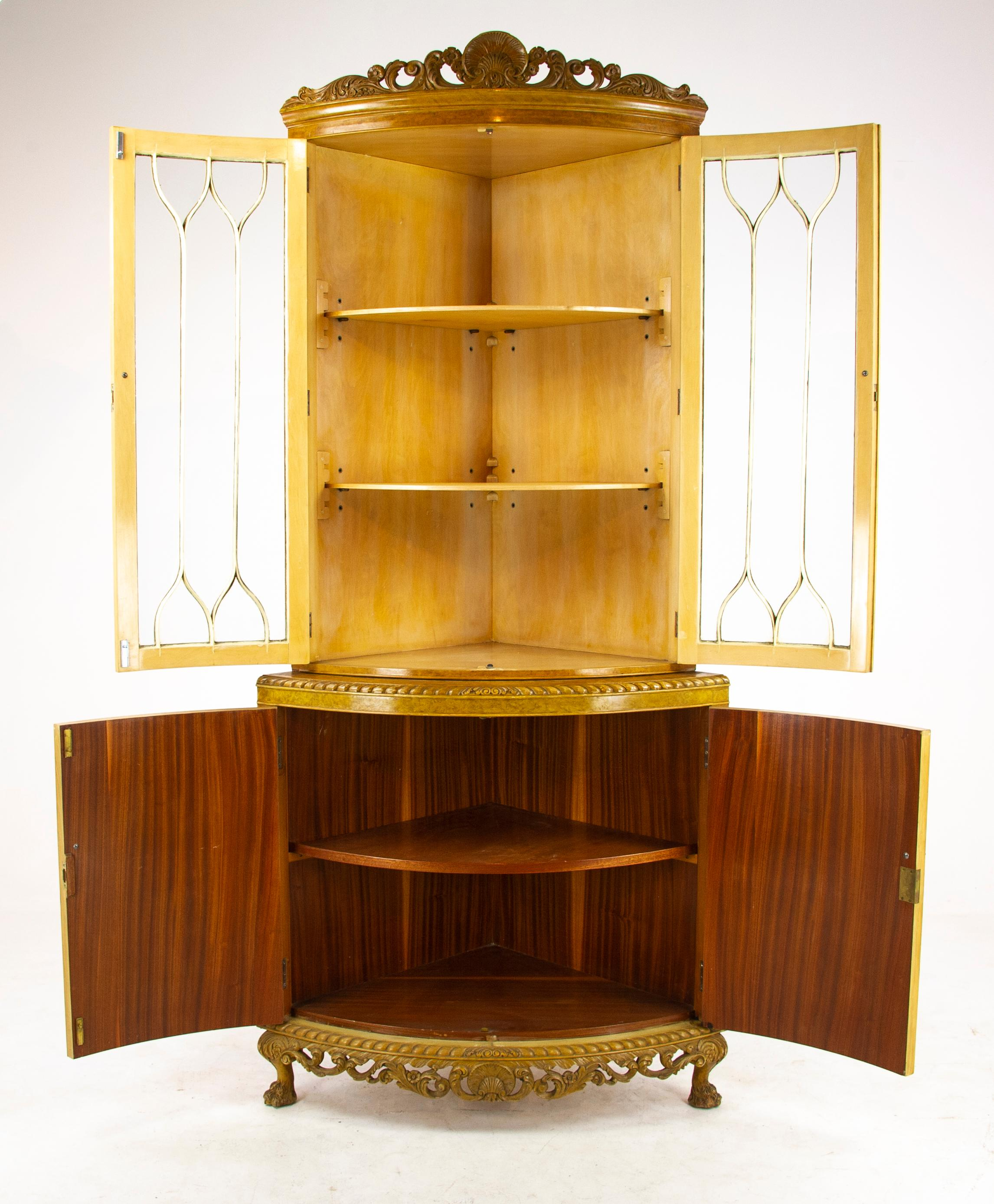 Antique China Cabinet, Walnut, Bow Front, Curio Cabinet, Scotland, 1930,  B1176