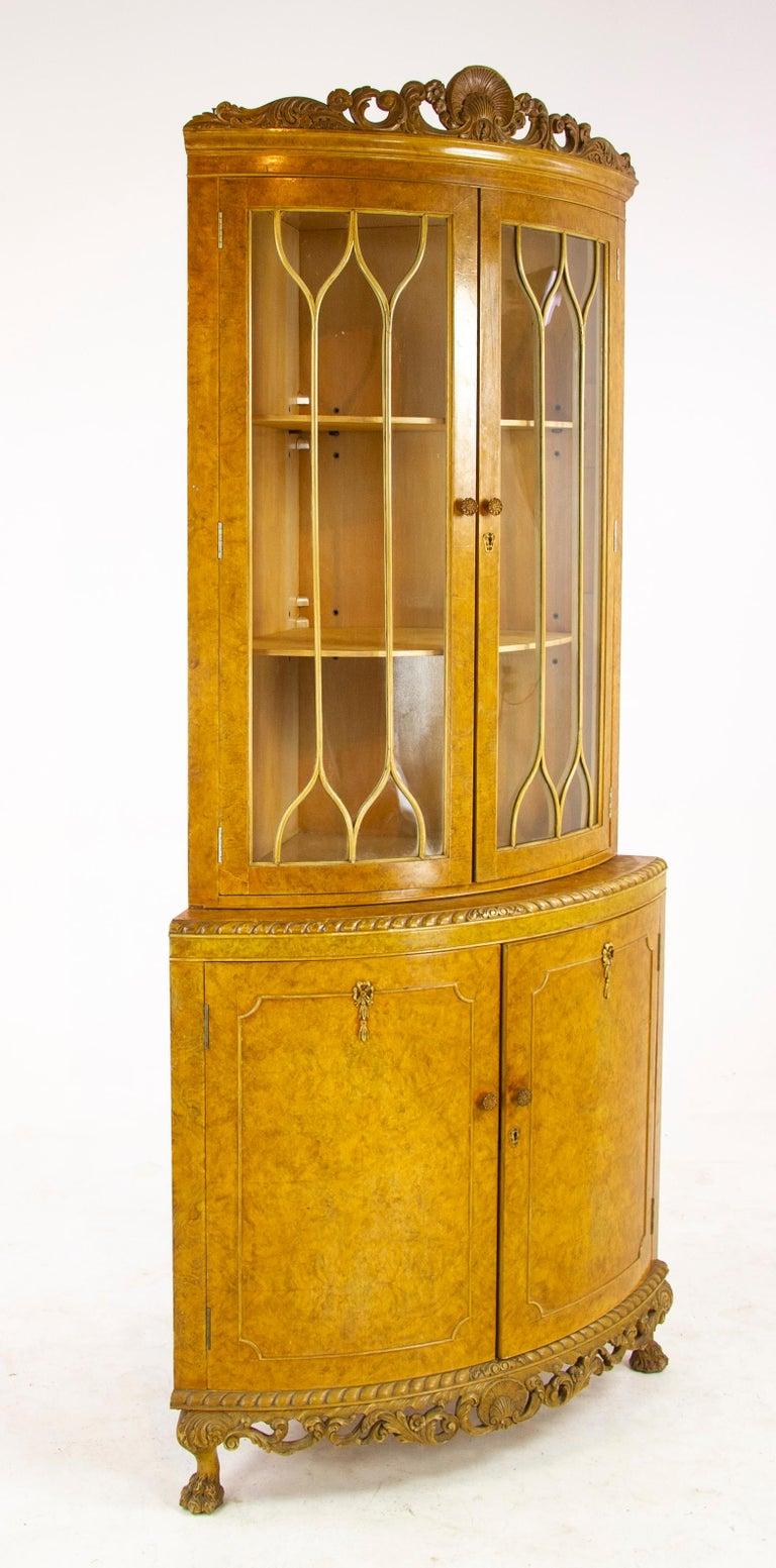 Antique China Cabinet Walnut Bow