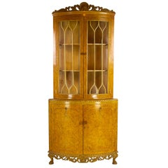 Antique China Cabinet, Walnut, Bow Front, Curio Cabinet, Scotland, 1930, B1176