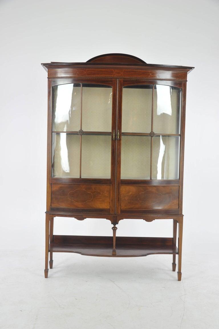 Scottish Antique China Cabinet, Inlaid Mahogany, Bow Front Cabinet,  Scotland, 1910 For - Antique China Cabinet, Inlaid Mahogany, Bow Front Cabinet, Scotland