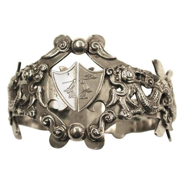 Antique China Trade Silver Dragon Motif Napkin Ring, Dated circa 1880