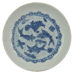 Antique Chinese 16th Century Porcelain Ming Wanli China Plate Fishes Carp