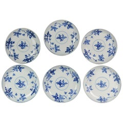 Antique Chinese 1700 Kangxi Period Batavian Blue White Dinner Set Marked Fishes