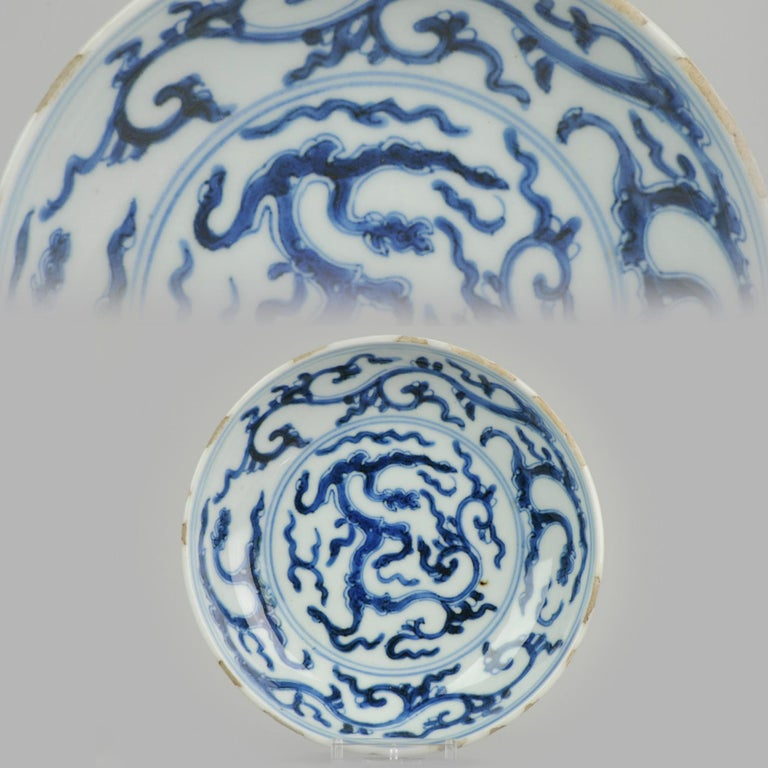 Antique Chinese 17th Century Porcelain Ming/Transitional Dragons Plate Marked For Sale 7