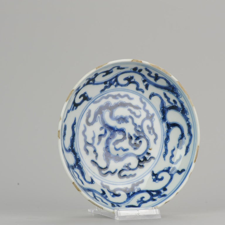 Antique Chinese 17th Century Porcelain Ming/Transitional Dragons Plate Marked For Sale 4