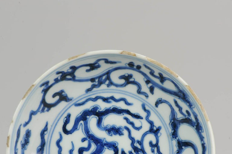 Antique Chinese 17th Century Porcelain Ming/Transitional Dragons Plate Marked For Sale 5