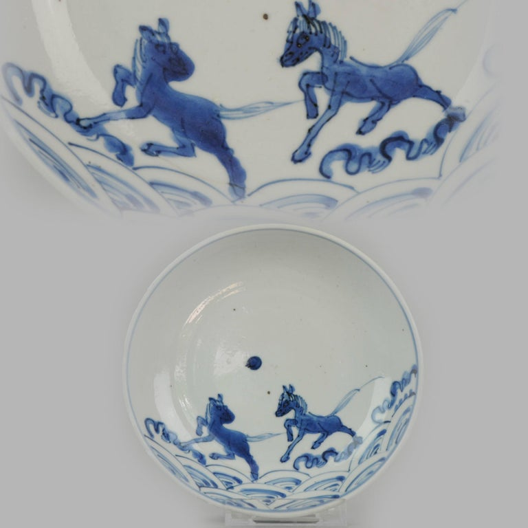 Antique Chinese 17th Century Porcelain Ming/Transitional Horses on Water Plate For Sale 10