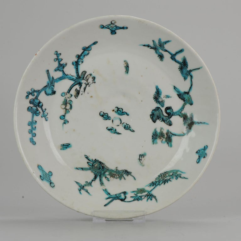 A very nicely decorated plate. Ming period. South Chinese Ming Zhangzhou Swatow. Three friends of winter with birds