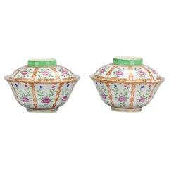 Antique Chinese Porcelain Lidded Bowls SE Asia Market Bencharong Thai Market
