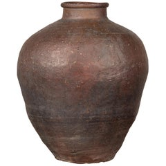 Antique Chinese 19th Century Grain Storage Brown Urn with Weathered Appearance