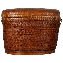 Antique Chinese 19th Century Qing Period Oval Rattan Basket with Lid and Handles