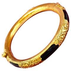 Antique Chinese 22 Karat Gold Black Coral Hinged Bangle Bracelet Engraved Flower