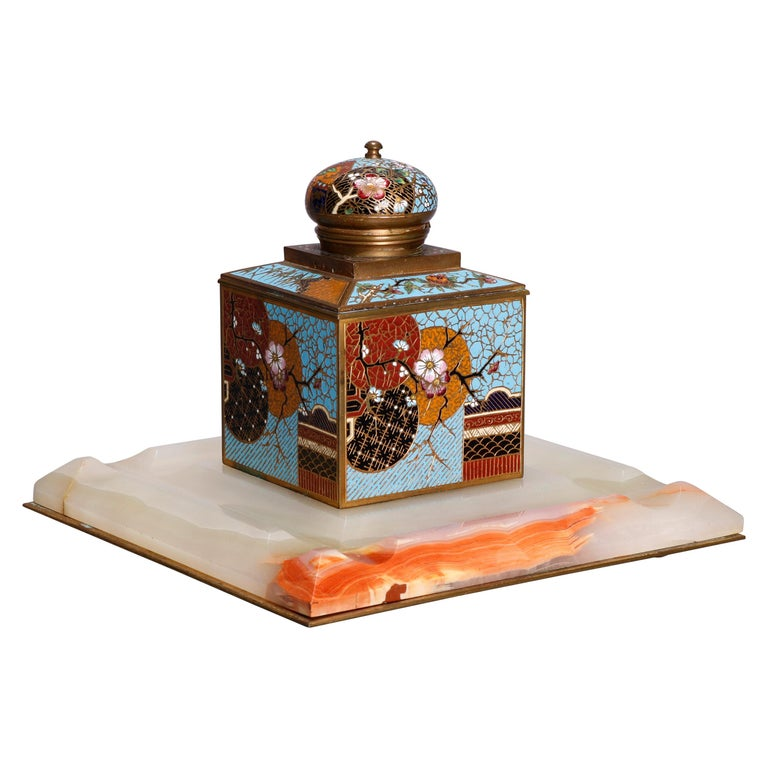 Antique Chinese Aesthetic Movement Cloisonne and Onyx Ink Well, circa 1870 For Sale