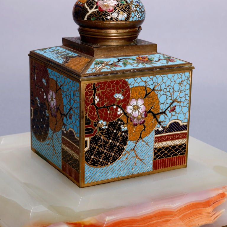 An antique Chinese Aesthetic Movement inkwell offers cube form with spherical hinged lid having Cloisonne enameled geometric and floral decoration, seated on beveled onyx base, circa 1870  ***DELIVERY NOTICE – Due to COVID-19 we are employing