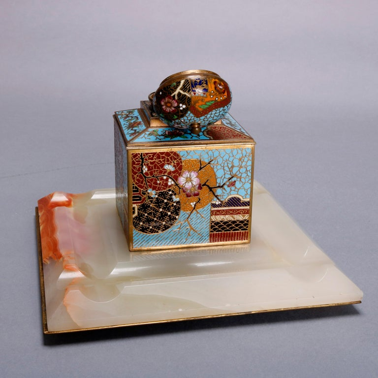 19th Century Antique Chinese Aesthetic Movement Cloisonne and Onyx Ink Well, circa 1870 For Sale
