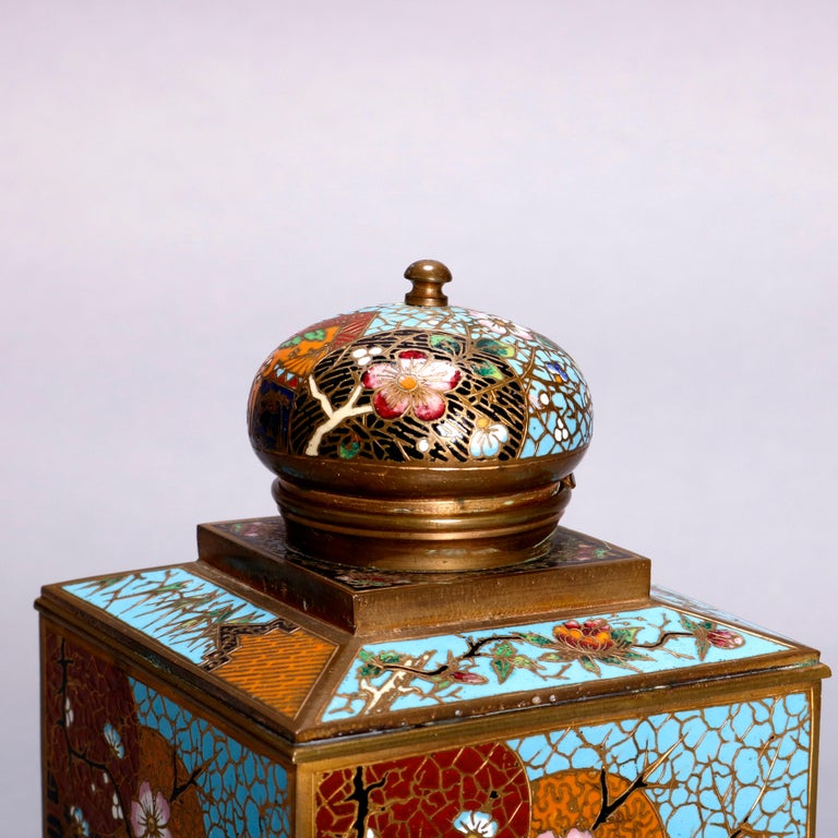 Antique Chinese Aesthetic Movement Cloisonne and Onyx Ink Well, circa 1870 For Sale 1