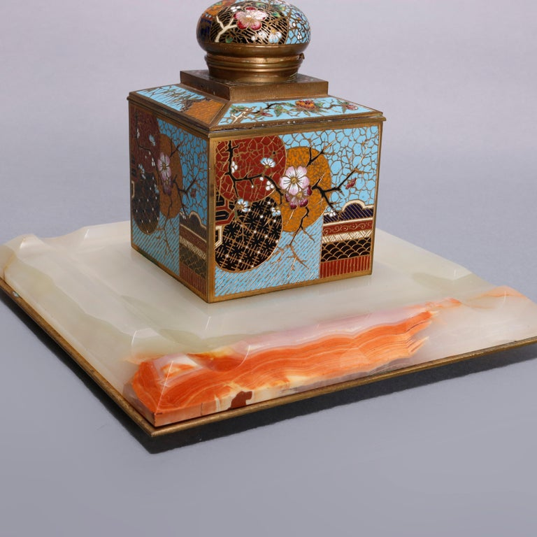 Antique Chinese Aesthetic Movement Cloisonne and Onyx Ink Well, circa 1870 For Sale 2
