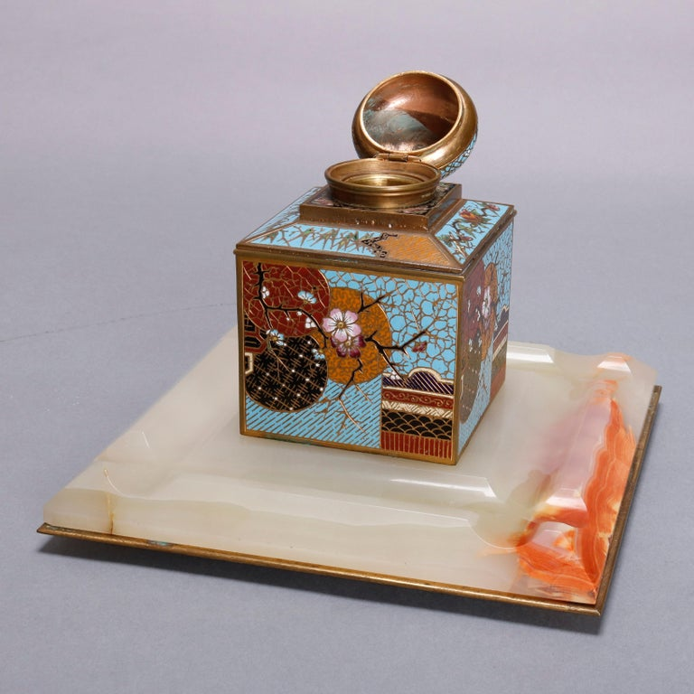 Antique Chinese Aesthetic Movement Cloisonne and Onyx Ink Well, circa 1870 For Sale 3