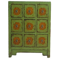 Antique Chinese Apple Green Medicine Cabinet