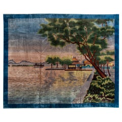 Antique Chinese Art Deco Blue Handmade Pictorial Oversize Wool Rug