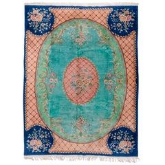 Antique Chinese Art Deco Carpet, Turquouse Field, Savonnerie Design