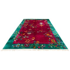 Antique Chinese Art Deco Floral Design Rug in Red, Green, Yellow, and Blue Wool