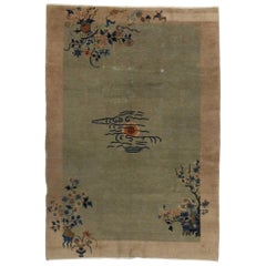 Distressed Antique Chinese Art Deco Nichols Style Rug