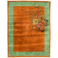 Antique Chinese Art Deco Orange Wool Rug