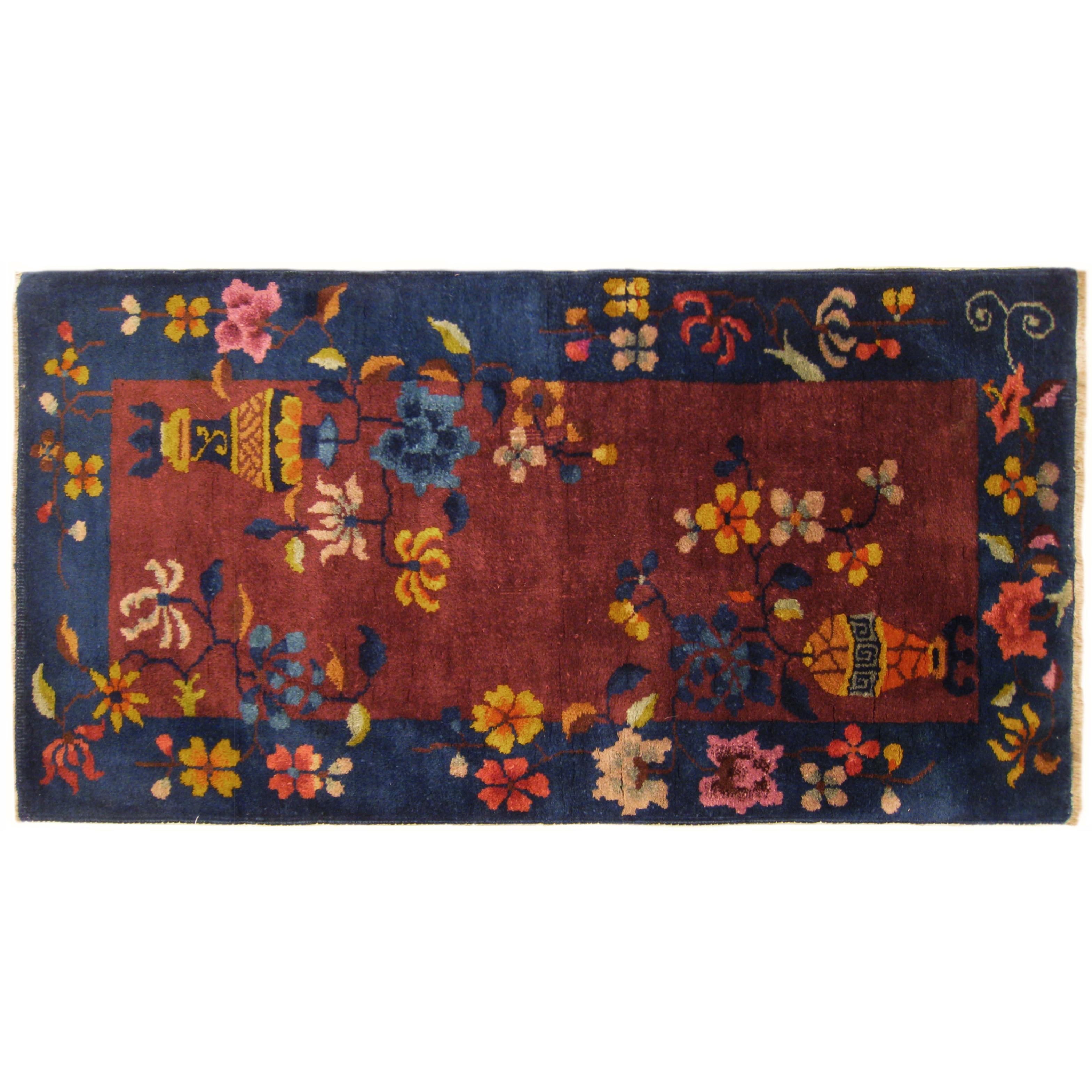 Antique Chinese Art Deco Oriental Rug, in Small Size with Vase and Flower Motifs