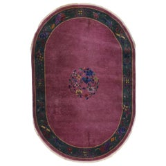 Antique Chinese Art Deco Oval Rug Inspired by Walter Nichols