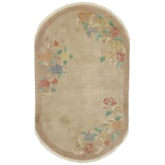 Antique Chinese Art Deco Oval Rug with Traditional Chinoiserie Style