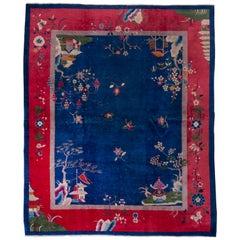Antique Chinese Art Deco Peking Rug, Dark Blue Field, Red & Lilac Borders