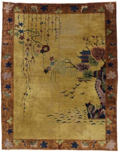 Antique Chinese Art Deco Pictorial Rug with Qing Dynasty Style