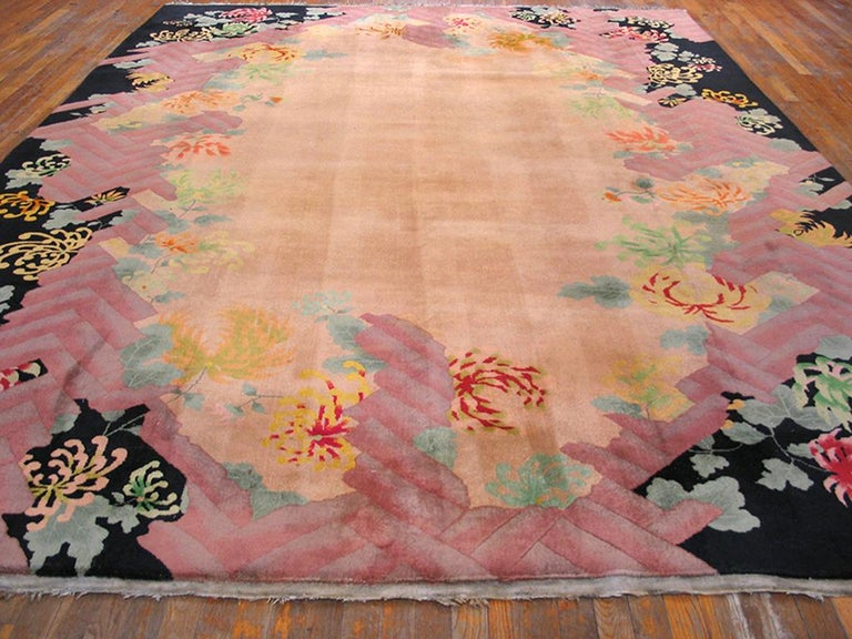 Antique Chinese Art Deco rug with tan color, measures: 9' 0'' x 11' 8''.