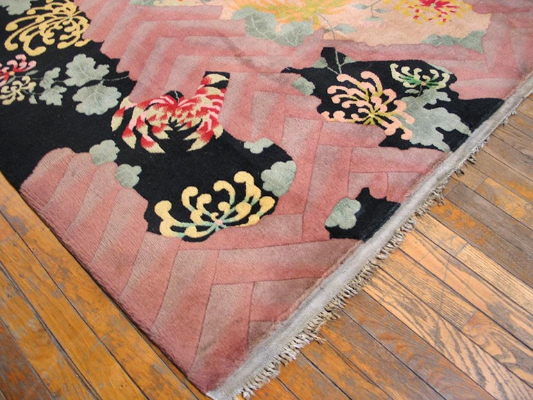Hand-Knotted Antique Chinese Art Deco Rug For Sale
