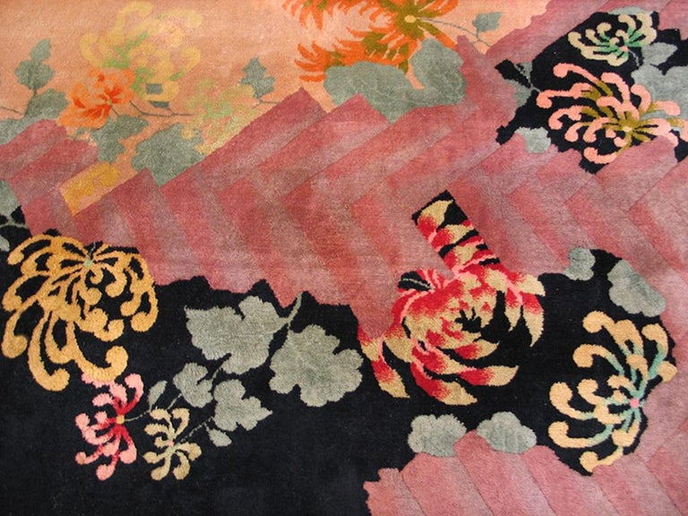 Wool Antique Chinese Art Deco Rug For Sale