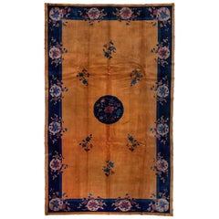 Antique Chinese Art Deco Rug, Gold Field, Blue Borders, circa 1920s