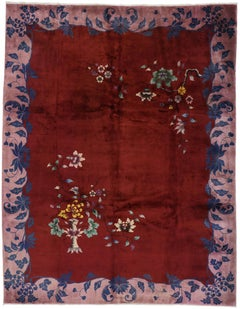 Antique Chinese Art Deco Rug Inspired by Walter Nichols
