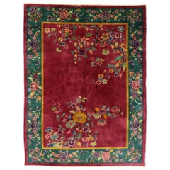 Antique Chinese Art Deco Rug Inspired by Walter Nichols with Jazz Age Style
