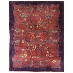 Antique Chinese Art Deco Rug with Eclectic Jazz Age Style