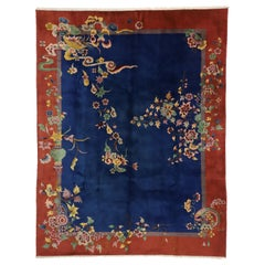 Antique Chinese Art Deco Rug with Jazz Age Chinoiserie Style