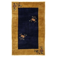 Antique Chinese Art Deco Rug with Minimalist Qing Dynasty Style