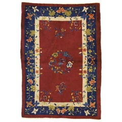 Antique Chinese Art Deco Style Accent Rug