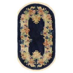 Antique Chinese Art Deco Style Oval Rug with Romantic Chinoiserie Style
