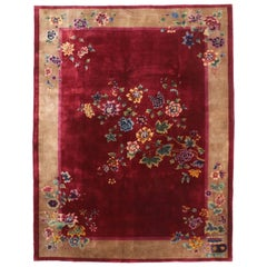 Antique Chinese Art Deco Style Rug