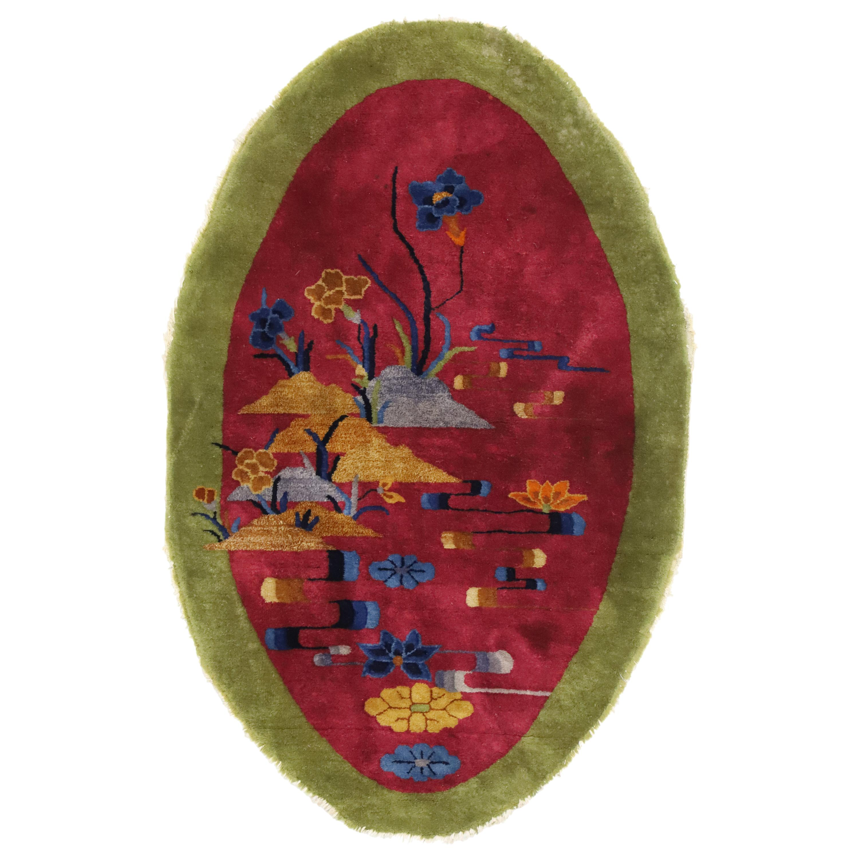 Antique Chinese Art Deco Style Rug, Oval Rug, Accent Rug