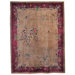 Antique Chinese Art Deco Wool Handmade Rug Taupe with Magenta Border